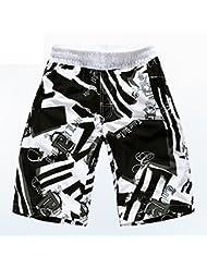 PZLL Rápido-sequedad y cortocircuitos de la playa de tamaño moda, surf de los hombres pantalones cortos cortocircuitos de los deportes , black , l