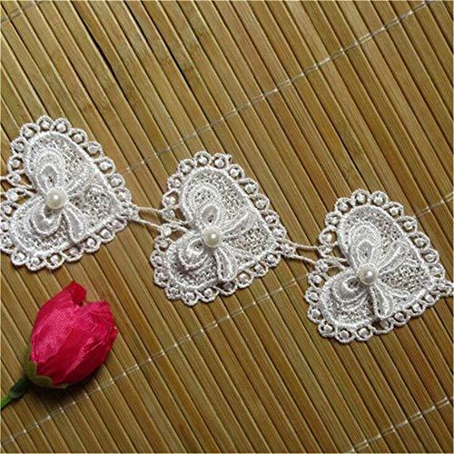 Ruban en dentelle à fleurs et perles 3D de 1,8 m - 5.2 cm de large - Style vintage - Tissu brodée - Pour coudre vêtements, robes de mariée, chapeaux