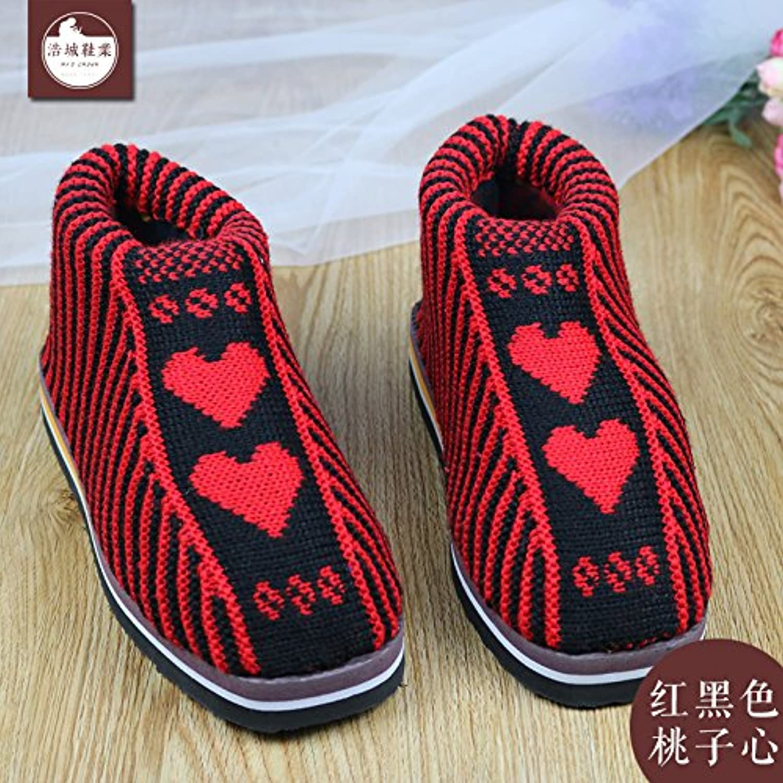 LaxBa Femmes Hommes chauds d'hiver Chaussons peluche Cotton-Padded antiglisse intérieur Cotton-Padded peluche Slipper chaussures rouge... - B077W8FYPK - 4b3457