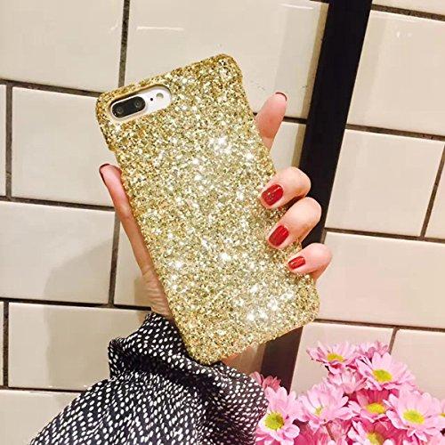 iPhone 6Plus, iPhone 6S Plus Fall, ikasefu Flash Powder Rückseite stoßfest Luxus Sleek Glitzer Funkelnd Bling Cute glänzend PC dünn Cover Schutz Hülle Bumper für iPhone 6Plus/6S Plus gold (Kreative 6 Plus Iphone Fällen)