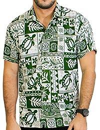 la Leela hawaien chemise pour hommes manches courtes poche avant tropical vert blanc
