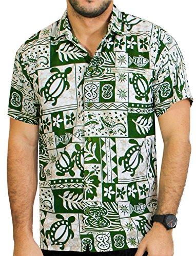 La-Leela-Botn-de-Playa-de-La-Manga-Corta-Hacia-Abajo-Hawaiano-Camisa-Hawaiana-Ocasional-6XL-Verde