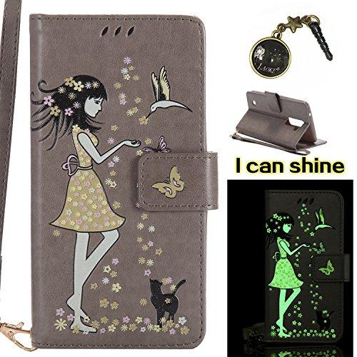 Preisvergleich Produktbild für LG K10 (2016) Hülle Flip-Case Premium Kunstleder Tasche im Bookstyle Klapphülle mit Weiche Silikon Handyhalter Lederhülle für für LG K10 /2016(5.3 Zoll) Luminous Mädchen Katze case Hülle +Stöpsel Staubschutz (2)