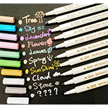 PuTwo - Rotuladores de Colores Marker Pen 10 Qaquetes para Album de Recortes de Fotos de Uso en Cualquier Superficie de Papel de Vidrio Cerámica de Plástico, colores Surtidos
