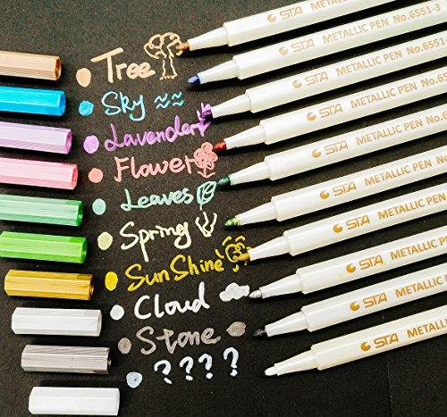 PuTwo Marker Pens 10 Packs for Photo Scrapbook Album Use on Any Surface-paper Glass Plastic Pottery - Assorted Colours