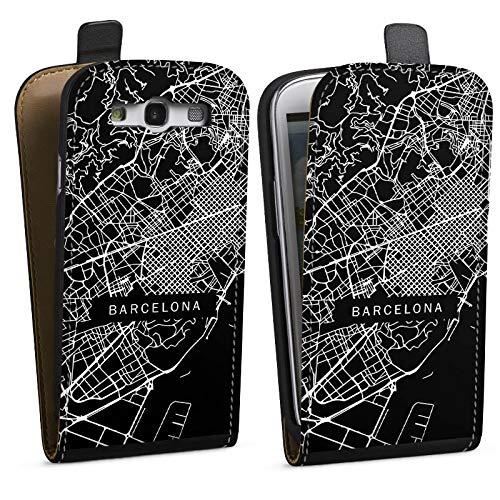 DeinDesign Tasche kompatibel mit Samsung Galaxy S3 Flip Case Hülle Barcelona Karte Stadt -