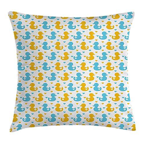Jhonangel Gummi-Ente Throw Pillow Kissenbezug, Baby Entenküken Muster mit kleinen Herzen Liebe Tiere drucken Kinderzimmer, dekorative quadratische Akzent Kissenbezug, 18 x 18 Zoll, blau und gelb (Gummi-ente Baby-buch)