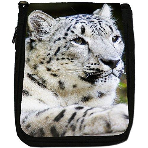 Snow Leopard Wild Cat Medium Nero Tela Borsa a tracolla, taglia M White Snow Leopard Sitting