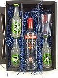 Smirnoff Vodka Lemon Set / Geschenkset – Smirnoff Vodka 70cl (37,5% Vol) + 3x Thomas Henry Bitter Lemon 200ml + Shakers Glas geeicht 4cl