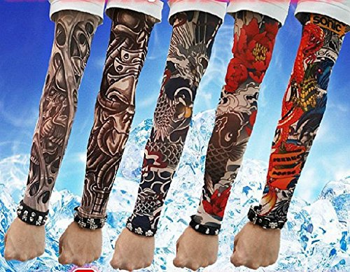 SHINA Hot High Quality Lot 5 Pcs Temporary Fake Slip On Tattoo Arm Sleeves Kit K (Halloween Tattoo Sleeve Designs)