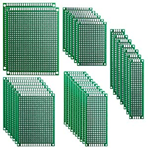 materiales de soldadura: Elegoo 32 Piezas Doble Cara Junta de PCB Doble Cara Tarjeta Placa Prototipo Kit ...