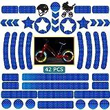DZSEE Adesivi Riflettenti 42 Pezzi, Nastro Catarifrangente, Adesivo Riflettente Notte per Ciclismo, Casco, Carrozzina, Passeggino, Auto Moto, Biciclette, Fortemente Riflettente Alta visibilità (Blu)