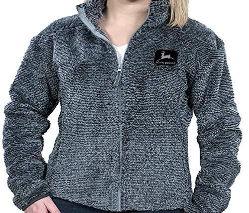John Deere Unisex Full Zip High Loft Poly Sherpa w/Embroidered Logo, Grey John Deere Hoodie Sweatshirt
