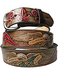 Genuine Flying Eagle/Red Flower Design 100% Country and Western Leather Removable Buckle Made in USA Mens Belts
