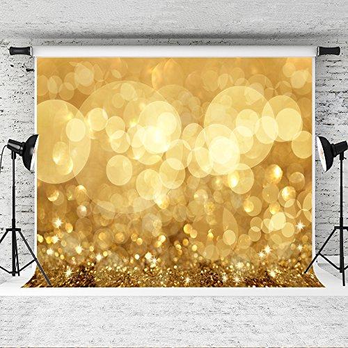 KateHome PHOTOSTUDIOS 3x2m Gelb Glitzer Photography Hintergrund Golden Gelb Kreis Hintergrund Glänzend Pailletten für Hochzeit Portrait Party Kinder Baby Foto Prop Studio