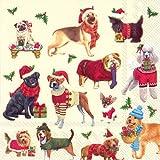 Diseño de perros de Navidad Luncheon 20 servilletas de papel en un paquete 33 cm cuadrado