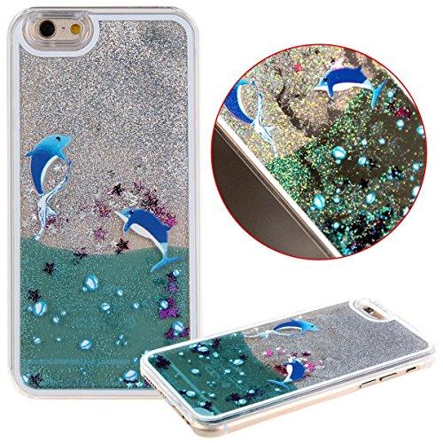 Voguecase® Pour Apple iPhone 4 4G 4S, Argent-sable Luxe Flowing Bling Glitter Sparkles Quicksand et les étoiles Hard Case étui Housse Etui(pissenlit 12/Argent) de Gratuit stylet l'écran aléatoire univ Dolphins piscine