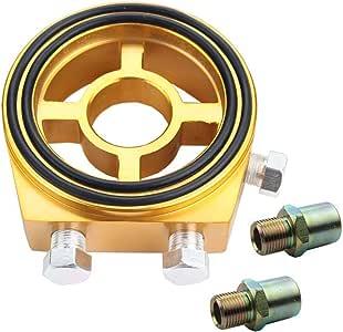 adattatore universale in alluminio per la misurazione della pressione dellolio Kit filtro per sistema di raffreddamento JDM con 4 viti Blu Adattatore per filtro olio