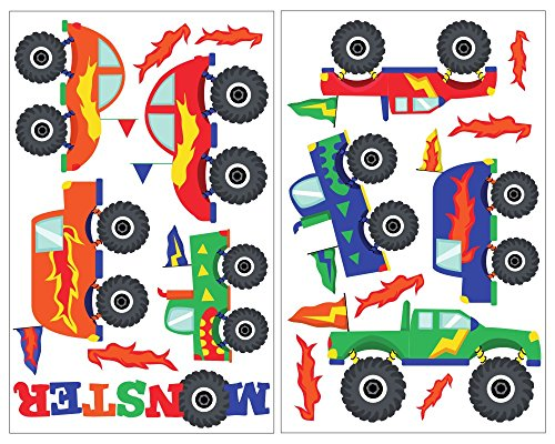17-teiliges Monstertruck Wandtattoo Set Kinderzimmer LKW Truck Bigfoot in 5 Größen (2x16x26cm mehrfarbig)