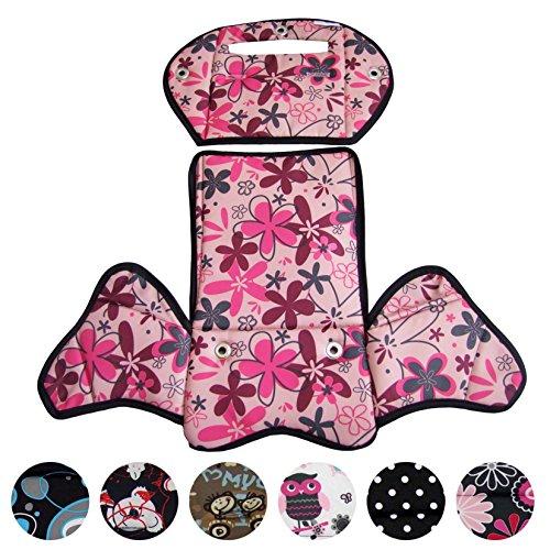 BambiniWelt24 BAMBINIWELT Ersatzbezug, Sitzkissen, Bezug für Fahrradsitz, Modell RÖMER Jockey (Modell 4, Design) (rosa Pinke Blumen)