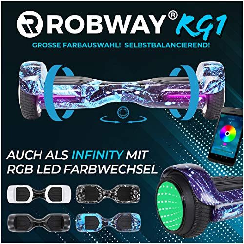 Robway Rg1 Hoverboard - Das Original - Self e Balance - 2 x 350 Watt Motoren - Led 16 Mio Farben - Bluetooth - App - Lithium Akku (Space Blue)