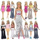 Miunana Fashion 10 modische Partymoden Urlaubstag Kleidung Kleider Outfit mit 10 Schuhe für Barbie Puppen Doll Xmas Weihnachten Geschenke