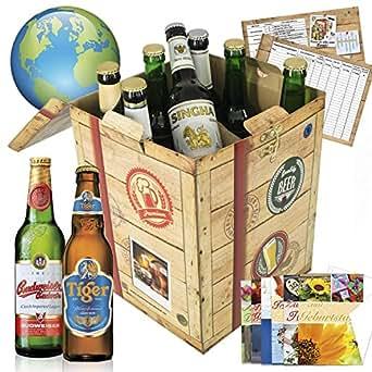 Geschenke für Männer BIERSORTEN AUS ALLER WELT Geschenkbox + gratis Geschenkkarten + Bierbewertungsbogen. Bier Geschenke aus Kanada + Portugal + Russland + Tyskie + Singha + Birra Moretti +  Bier Geschenke für Männer. Besser als Bier selber machen oder selbst brauen: Geschenk Geburtstagsgeschenke was schenken geschenke zum 50. geburtstag valentinstag geschenke für freund geschenk für ihn geschenke Geschenkideen Weihnachten biergeschenke