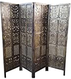 Tayyaba Enterprises 4 Panel Handcrafted Wooden Partition/Wooden Screen/Wooden Room Divider/Wooden Room Seperator/Separator For living Room/Office/Wooden Antique Screen/Mango Wood Partition Screen/Wood Carving Room Separator