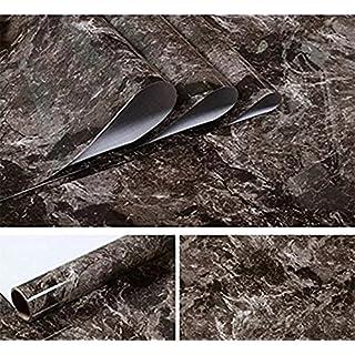 JLCorp 40cm x 200cm White Grey Marble Contact Paper Table Door Sticker Self-Adhesive Film Peel-Stick Wallpaper Gloss Countertop Shelf Liner Backsplash Furniture Sticker (Dark Brown)