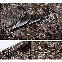 """JLCorp - Adhesivo decorativo para puerta, diseño de mármol con texto en inglés""""Mármol Contact Papel"""", adhesivo para decoración de muebles (40 cm x 200 cm), color negro y marrón"""