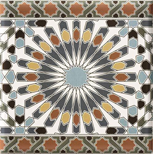 Marokkanische Fliesen Bordüre Kasbah 20 x 20 cm mehrfarbig orientalische Mosaikfliesen | Bordüre für Bad & Küchenrückwand | schöne Küche Flur & Badezimmer