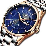 Relojes para hombre,LIGE Acero Inoxidable Impermeable deportivo Reloj analógico de cuarzo Dial azul...