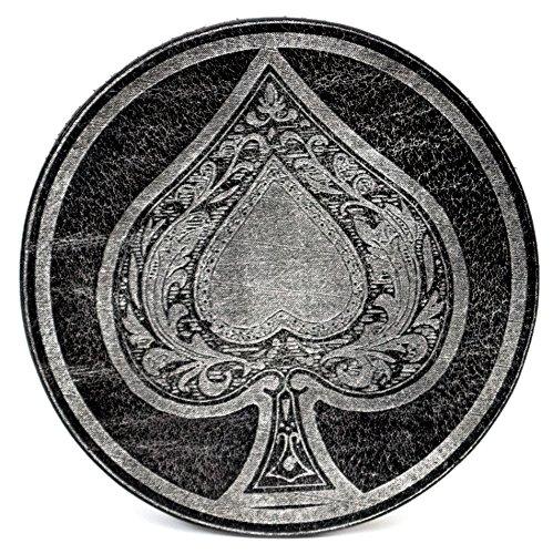 """Glas Untersetzer """"Ace of Spade"""", Schwarz, handgearbeitet aus 100% echtem Vintage Leder, Kreisdurchmesser ist 11cm"""