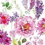 20 Servietten Pink Roses White Rose rosa lila weiss Blumenmotiv 33 x 33cm