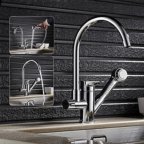 Auralum Luxus Design-Grifo mezclador de alta presión para fregadero de cocina, cromo,