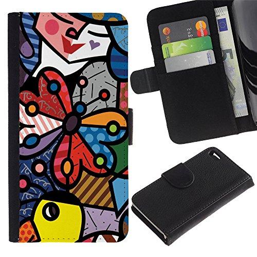 Graphic4You Niedlich Plastic Stars Design Brieftasche Leder Hülle Case Schutzhülle für Apple iPhone 4 und 4S Design #4