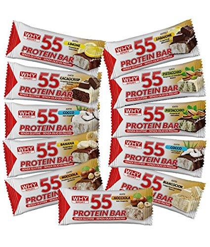 24x why sport protein 55, barrette proteiche da 55g (gusti assortiti) + omaggio 1x self whey shake 1kg - nt integratori