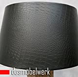 dasmöbelwerk Großer Lampenschirm für Stehleuchten Kunstleder Schirm Ø 50 cm in 3 Farben (schwarz)