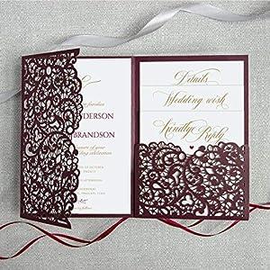 50 Wein Farbe Set mit 50 Einladungen Mach es selbst! mit sauberen Mitteln Lasergeschnittene + Kuvert Hochzeit…