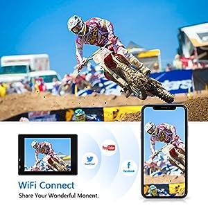Crosstour-Action-Cam-4K-WiFi-Sports-Kamera-Helmkamera-30M-Wasserdicht-Unterwasserkamera-Ultra-HD-2-LCD-170-Weitwinkelobjektiv-mit-2-Batterien-und-kostenlose-Accessoires