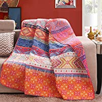 Reversible 125 x 150cm Cotton Multicolored Boho Quilted Throw Blankets by Exclusivo Mezcla