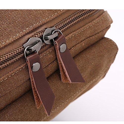 Outdoor Canvas Umhängetasche Unbalance Rucksack, Sling Bag , Reißverschlusstasche Brusttasche Cross bag für Laufen, Jogging, Wandern, Radfahren Khaki(doppelte Verwendung)