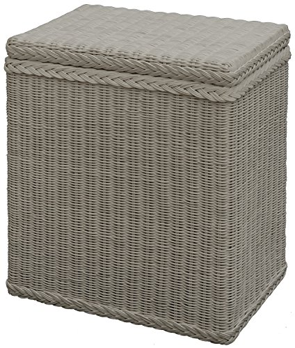 Wäschekorb / Wäschebox mit Deckel und Inlett aus echtem Rattan, Wäschetruhe (Weiß)