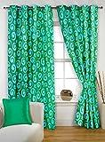 Bedspun Nature Collection Eyelet Fancy Ring Top Designer Abstract Modern Polyester Aqua Elegant 2 pc Premium Combo Window curtain-5 feet