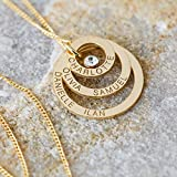 Solid 9ct Yellow Gold Personalised Three Disc Pendant Necklace With Crystal and Optional Chain In Gift Box