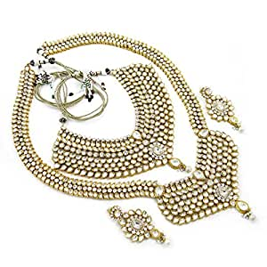 8 Pc Silver Wedding Gold Plated Kundan Jewellery, Traditional Indian Bridal Set Dulhan Jewellery