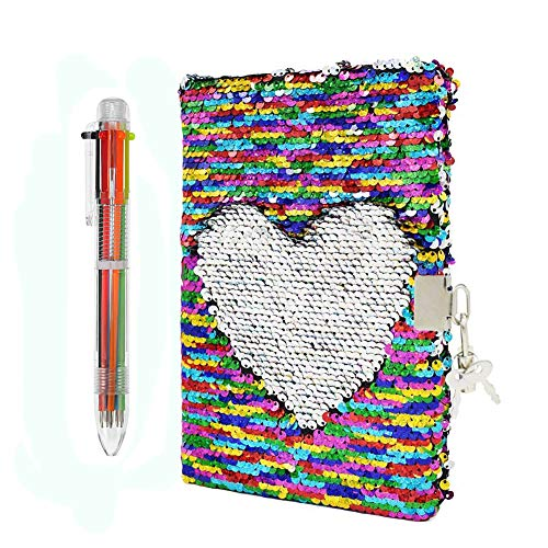 Magic Pailletten-Notizbuch und Kugelschreiber, buntes DIY Wendbares Pailletten-Tagebuch, abschließbares Tagebuch mit Vorhängeschloss und Schlüssel, schönes Geburtstagsgeschenk für Mädchen