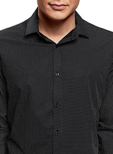 oodji Ultra Herren Bedrucktes Hemd Slim-Fit Schwarz (2910D)