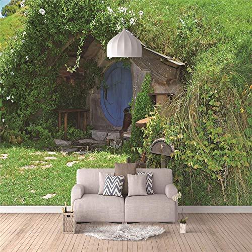 Fototapete Holzhaus 250X175Cm - 5 Streifen Tapete Fototapeten Vlies Wand Tapete Schlafzimmer Wohnzimmer Architektur Moderne Wanddeko