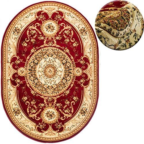 Traditionelle Ovale Teppich (Teppich OVAL Klassisch Orientalisch Ornamente Muster 3D-Effekt Konturenschnitt (160 x 220 cm, Rot))